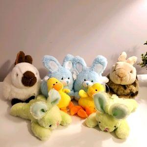 bunnies, beanie ducklings, TY plush
